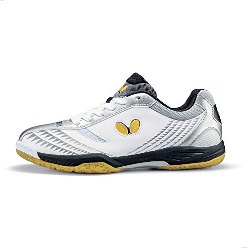 Butterfly Lezoline Gigu Shoes – Professional Competition Table Tennis Shoe for Men or Women – Excellent Shock Absorption Sneakers – Colors: Black/Red, White/Silver, 11