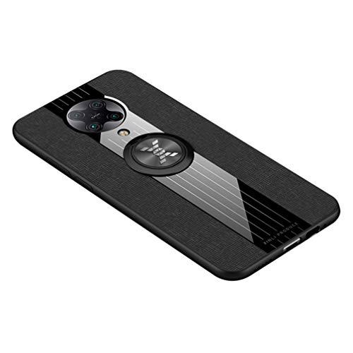 HAOTIAN Hülle für Xiaomi Poco X3 NFC, 360 Grad Ring Stand [Kompatible Magnetische Autohalterung] Schutzhülle, [TPU Rahmen] Handyhülle, Stoff - Backcover Cover Canvas Design. Schwarz