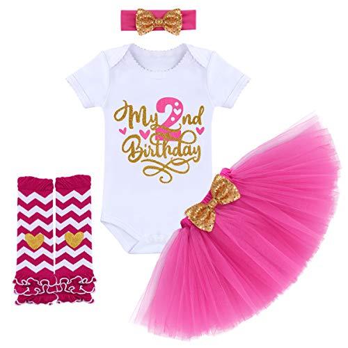 Bebé recién nacido niña es mi primer primer cumpleaños 4 piezas traje + falda tutú de princesa + cinta de lazo + leggings vestido de fiesta para sesiones de fotos 02-Hot Pink-2Years 2 Años