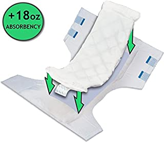 Large Adult Diaper Booster Pad Liner Inserts with Adhesive (15.75 x4.25 Inch) - Extra Absorbent Doubler Locks in Moisture Throughout Day or Night, 18 Ounce Absorbency (25 Count) by BrightCare