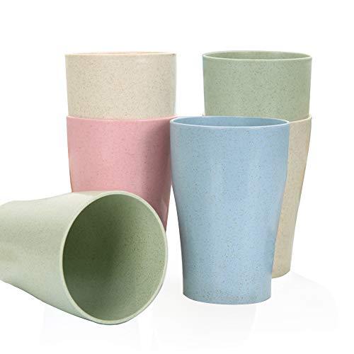 Goter 4 Piezas Taza de Paja de Trigo Reutilizable irrompible, Taza de Bebida Saludable ecológica para Leche, Jugo, Agua, Tazas Cepillo de Dientes para niños Adultos (6 Piezas)