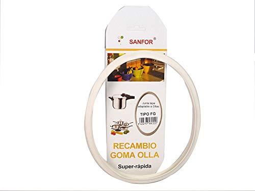 Junta de goma de sellado para tapa de olla rápida adaptable a olla a presión Fagor | Caucho | Blanca | 9,2 x 9,2 x 1 cm