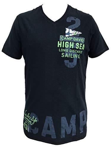 Camp David Herren T-Shirt mit V-Neck und Artworks