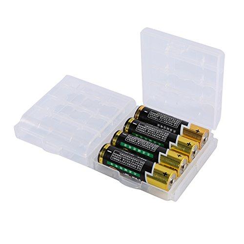 Soporte de almacenamiento de batería AA/AAA, caja de almacenamiento de batería de plástico transparente, contenedor organizador, puede contener 4 pilas AA y 5 pilas AAA