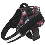Bolux Dog Harness, No-Pull Reflective Dog Vest, Breathable Adjustable Pet Harness with Handle for Outdoor Walking - No More Pulling, Tugging or Choking ( Red Camo, M )