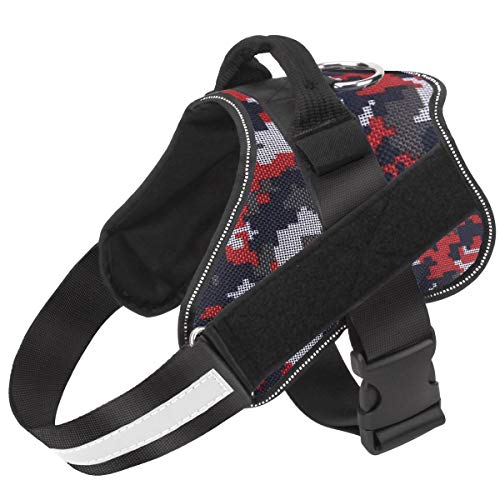 Bolux Dog Harness, No-Pull Reflective Dog Vest, Breathable Adjustable Pet Harness with Handle for Outdoor Walking - No More Pulling, Tugging or Choking ( Red Camo, XL )
