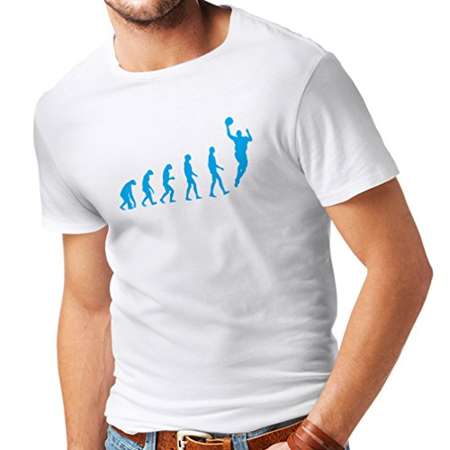 Camisetas Hombre evolución de Baloncesto - Canasta de la Calle, me Encanta Este Juego, Gran Fan de Regalo (Medium Blanco Azul)
