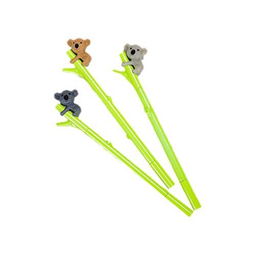 JUNGEN 3PCS Pluma de Gel Forma de bamboo con Koala bolígrafos bonitos kawaii Oficina y Papeleria Artículos (color al azar)