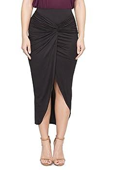 ICONOFLASH Women s Asymmetrical High-Low Tulip Bodycon Midi Skirt Black Large