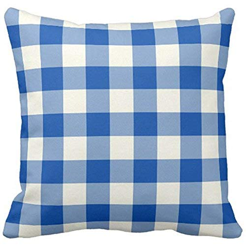 ymot101 Colorful Garden Cobalt Blue Gingham Patio Cushion Covers 45cm x45cm Square Throw Pillow Case Covers for Home