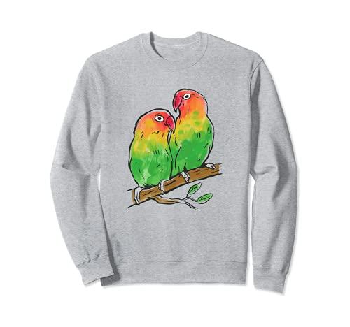Dos Lovebirds sentado en una rama Agapornis loro Sudadera