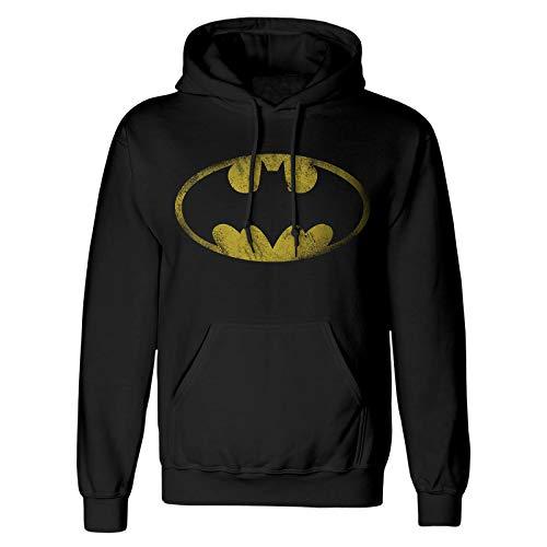 Batman Hoodie Distressed Logo mit Kapuze DC Comics schwarz - XXL