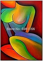 PLLP リビングルームの廊下ホームベッドルームデコレーションN用ノベルティフレームレスウォールが描いたキャンバスの手で、油絵絵画、カラフルな抽象女ヌードパターン設計の北欧スタイルの絵画ポスターHdウォールアート写真の装飾,40X60Cm(16X24Inch)いいえフレーム,40X60Cm(16X24Inch)いいえフレーム