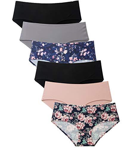 Womens Underwear Seamless No Show Bikini Hipster 6 Pack Floral Print Panties