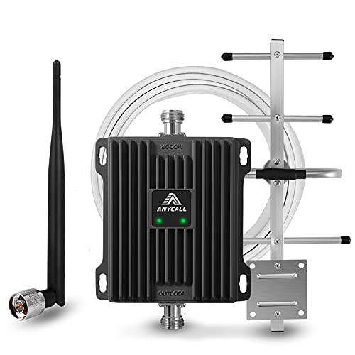ANYCALL Amplificador de Cobertura Movil 4G Repetidor de Señal 3G gsm 800MHz(Band 20) 900MHz(Band 8) Mejorar la Red y Llamar Soporte Movistar/Orange/Vodafone para Casa/Oficina