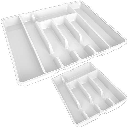 TW24 Alpina Besteckkasten ausziehbar mit Farbwahl 27-44cm für Schubladen Besteckfach Kunststoff Besteckeinsatz Schubladeneinsatz (Weiß)