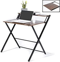Folding Computer Desk: The foldable computer desk features a simple and generous design, it's very practical and perfect furniture for decorating your family study or workplace. Space Saving Folding Desk: The small desk can be folded in the corner wh...