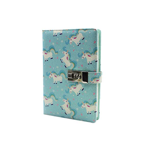 Knuffel A5 A6 Glitter Eenhoorn Gedrukt Notitieboek met Combinatie Lock Journal Dagboek Schrijven Planner Notepad,80 Bladen/160 Pagina's, Gevoerd Papier one size A5 Unicorn