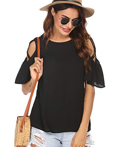Meaneor Damen T-Shirt Rundhals Chiffonbluse Elegant Carmenbluse Tops Blusenshirt Kurzarm Oberteile Sommer Blusen Chiffon Tunika Shirt Sommershirts