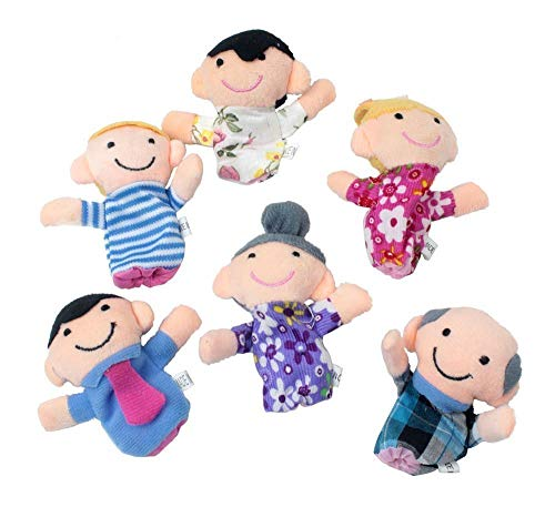 Ogquaton Juego de 6 marionetas de dedo para miembros de la familia felices, para niños pequeños y preescolares, creativas y útiles