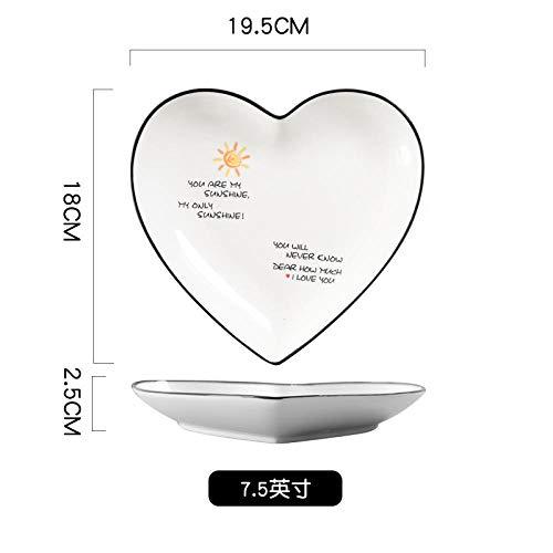 Ins red plato rojo amor creativo plato en forma de corazón plato de cena de cerámica en casa plato de cena plato de pastel fruta melocotón corazón plato 2-7.5 pulgadas de luz solar * 2