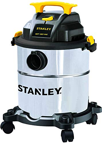 Stanley 6 Gallon Wet Dry Vacuum, 4 Peak HP Stainless Steel 3 in 1 Shop Vac Blower with Powerful Suction, Multifunctional Shop Vacuum W/ 4 Horsepower Motor for Job Site,Garage,Basement,Van,Workshop