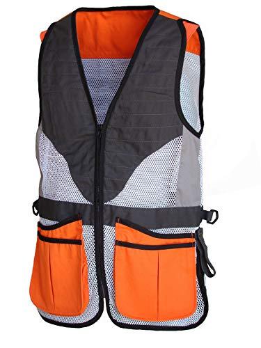 BENISPORT [Talla 3XL Chaleco de Tiro Haya de Color Naranja Chaleco de Tiro Profesional para Tiro al Plato, Ambidiestro