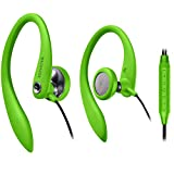 Over Ear Earbuds Wired, in Ear Earphones with Microphone, Sport Headphones for Running, Workout, Exercise and Gym by Magnavox (Green)