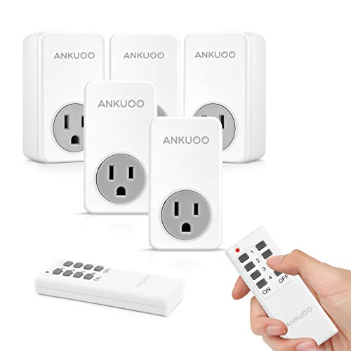 Remote Control Outlet Wireless Light Switch Power Plug by Ankuoo,Wireless Outlet for Lamps,Electrical Appliances,Up to 100 ft. Range,White (2 Remotes + 5 Outlets)