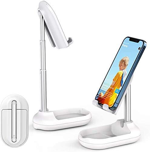 licheers Verstellbarer Handy Ständer, Faltbare Tisch Handy Halterung: tragbarer Handy Halter kompatibel mit Smartphone, iPad Mini, Kindle, Nintendo Switch und weitere 4-9,7 Zoll Geräte (Weiß)