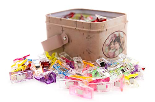 100 Pack Multipurpose Sewing Clips for Quilting and Crafts with Tin Box, Assorted Colors