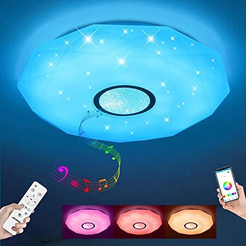 Led Música Lámpara De Techo Con Altavoz Bluetooth Y Teledirigido,24w Starlight Rgb Cambio De Color Luz De Techo,Regulable Lámpara De Techo Para Niños's Habitación-Blanco 30x8cm(12x3inch)