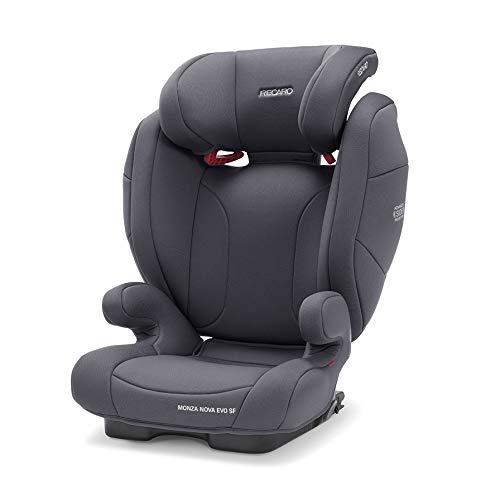 Recaro Kids, Monza Nova Evo Seatfix Kinderautositz (15-36 kg) mit passivem Belüftungssystem, Komfort und Sicherheit, Universelle Installation, Gruppe 2-3, Core Simply Grey