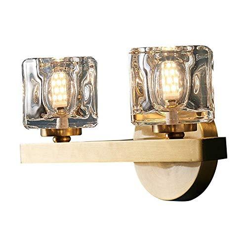 CHOUCHOU Apliques Pared Cristal de Cobre Puro pórtico Pasillo Corredor Oro Lámpara de Pared de Lujo LED Comedor Salón Dormitorio Estudio Escalera Balcon Caliente Simple de la luz ámbar