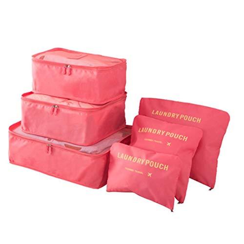 tiowea Opbergtas voor op reis, 6 stuks, voor kleding ondergoed, afwerkingspakket, vacuüm en ruimtebesparend Reis-opbergtas set Mittel watermeloen-rood