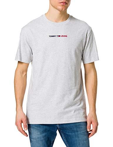 Tommy Jeans TJM Linear Logo Tee T-Shirt, Gris argenté, M Homme