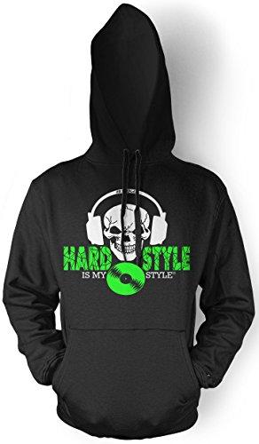 Hardstyle is My Style Männer und Herren Kapuzenpullover | Hardcore Musik Minimal Geschenk | M4 FB (Schwarz- Druck Neongrün, XXL)
