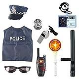 Lommer Disfraz Policía Niño - 10Pcs Policía Juguete Set de Juegos de rol Policia Niños Navidad