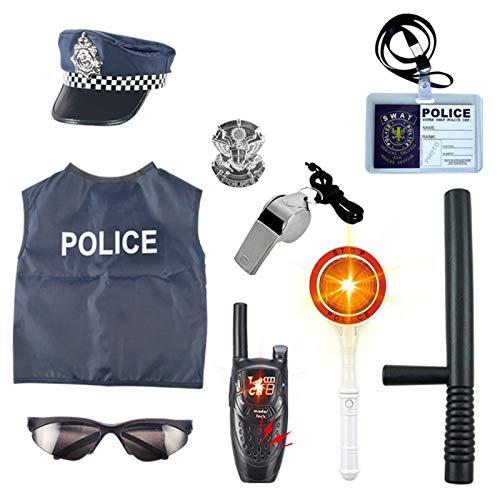Lommer Polizei Spielzeug, 10 Stücke Kinder Polizei Kostüme Polizei Rollenspiel Set für Swat, FBI, Detektiv, Halloween oder Weihnachts Geschenk