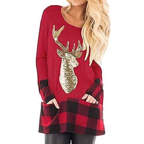 Donna Pullover Vendita di liquidazione V Collo Bendaggio Sciolto Solido T-Shirt Maniche Lunghe Elegante Autunno Camicette Camicie Casual Tops_per Natale