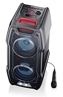 SHARP PS-929 180W High Power Portable Party Speaker Hi-Fi System with Built-in Rechargeable Battery, Flashing Disco Lights & Strobe, TWS (True Wireless Stereo), Bluetooth, USB, Aux & Microphone from Sharp