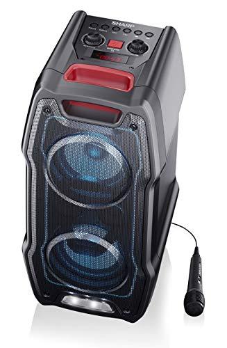 SHARP PS-929 Party Speaker Boombox con función Karaoke, microfono Incluido, TWS, Bluetooth 2 Puertos USB, 2 Puertos 6.3 mm, Luces Multicolor más luz estroboscópica, 180W de Potencia y bateria Integra
