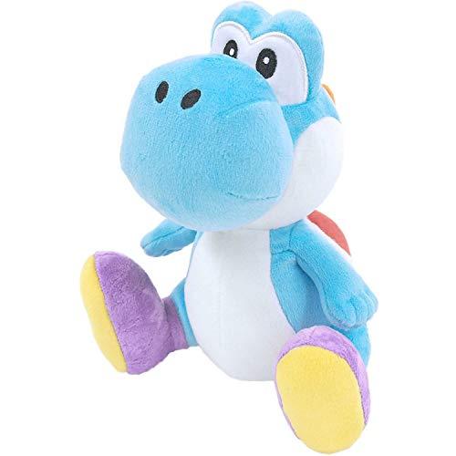 "Little Buddy 1219 Super Mario All Star Collection Light Blue Yoshi Plush, 7"""