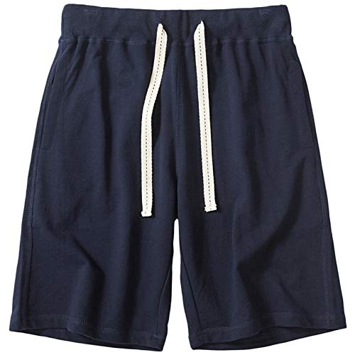 czzstance Mens Shorts Casual Cotton Athletic Shorts Drawstring Workout Running Shorts with Pockets Navy