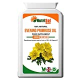 NutriSol Health Evening Primrose Oil 1000mg 90 Vegan Capsules May Help Maintain Healthy Hormones, Joints, Skin, Hair, Nails & Menstrual Health 100% Pure Natural High Quality Food Supplement Made in UK