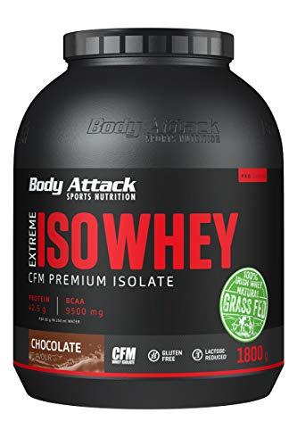 Body Attack Extreme Iso Whey, Whey Protein Pulver zum Muskelaufbau aus 100% irischer Weidemilch, fettarmes Eiweißpulver ohne Aspartam (Chocolate, 1,8 kg)