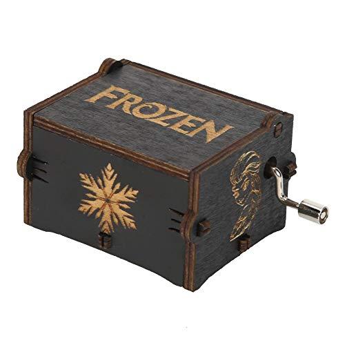 G/N Caja de música Manivela Caja Musical grabada-Frozen Free Fall Cajas Musicales de Madera Vintage Decoración del hogar Adorno niños