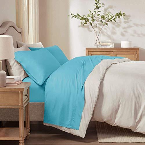 RUIKASI Juego de sábanas para cama individual – Juego de sábanas individual de 90 x 190 cm con sábana de 150 x 290 cm y 1 fundas de almohada de 50 x 80 de microfibra, juego de sábanas azul pavo real
