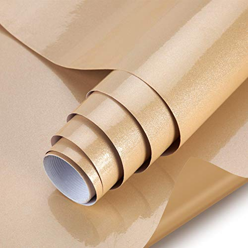 Selbstklebende folie Dekorfolie Fotofolie Wandaufkleber DIY klebefolie (Brown, 61 * 500cm) aus PVC wasserfest Folie küchenfolie Tapete für Möbel Küche Tür & Deko
