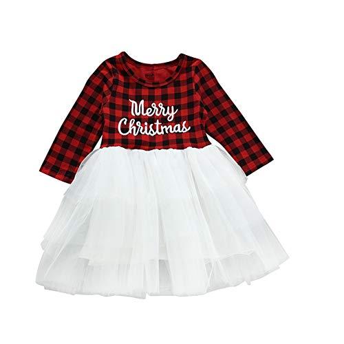 Taiduosheng Robe de Noël pour bébé fille avec jupe en tulle et imprimé « Merry Christmas » - Rouge - 6-12 Months